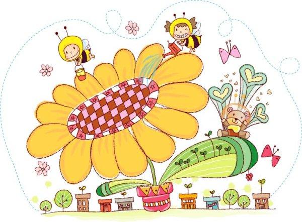 0 点 关键词: 手绘风可爱矢量图4,向日葵,花盆,小熊,浇水,蜜蜂,人物
