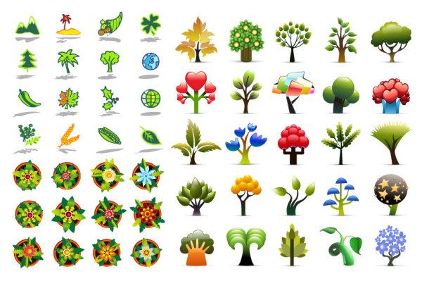 关键词: 植物图标矢量素材,植物,山,椰子树,四叶草,圣诞树,树叶,地球