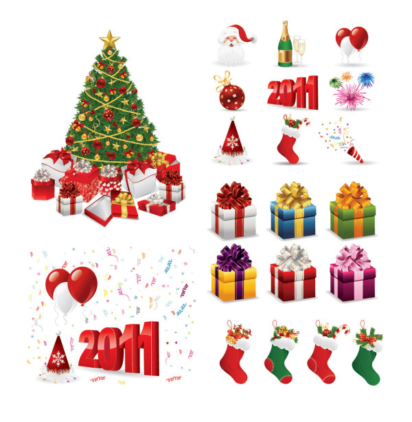 矢量素材,2011年,新年,节庆,圣诞节,圣诞树,礼物,装饰,气球,缤纷,彩带