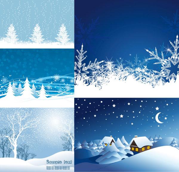 圣诞节雪景矢量素材,雪景,雪地,冬天,下雪,雪花,松树,房子,月亮,圣诞