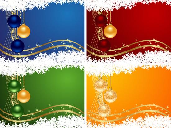 圣诞雪花彩球吊旗