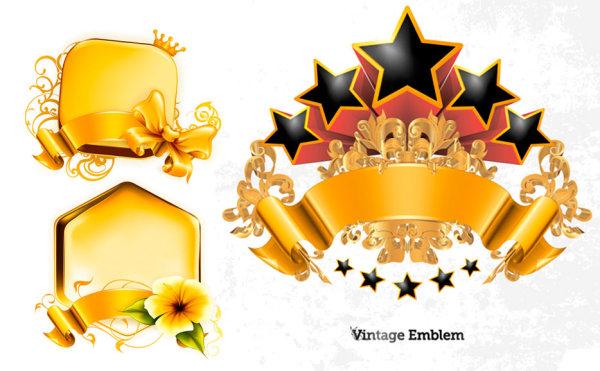 丝带,金色,黄光,蝴蝶结,花纹,花朵,立体星星,五角星,矢量素材,eps格式