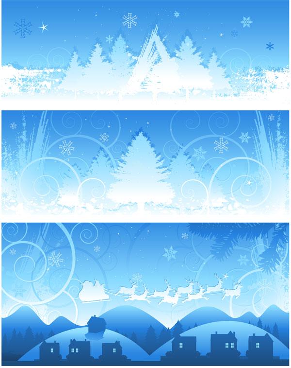 圣诞节雪景背景