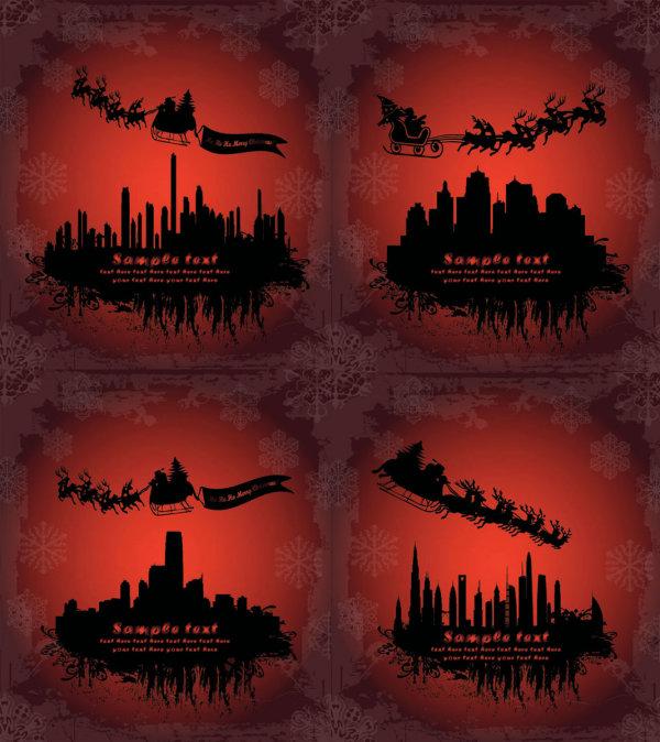 圣诞老人飞过剪影