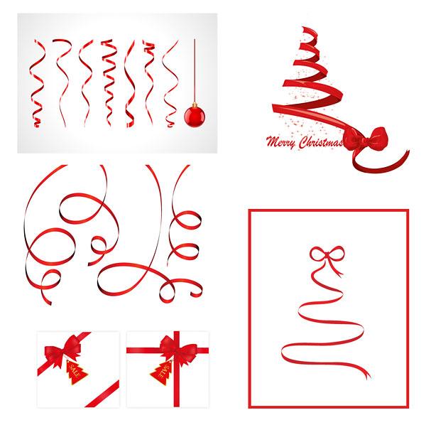 圣诞节丝带矢量