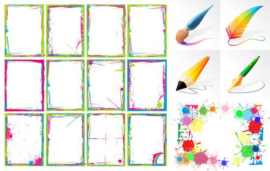 画笔与彩墨边框_矢量花边 - 素材中国_素材cnn