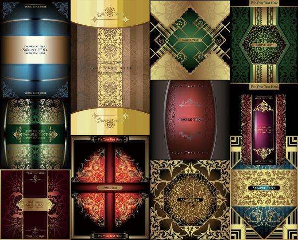 多款欧式华丽花纹背景矢量素材,欧式,华丽,花纹,背景,金色,暗花,矢量
