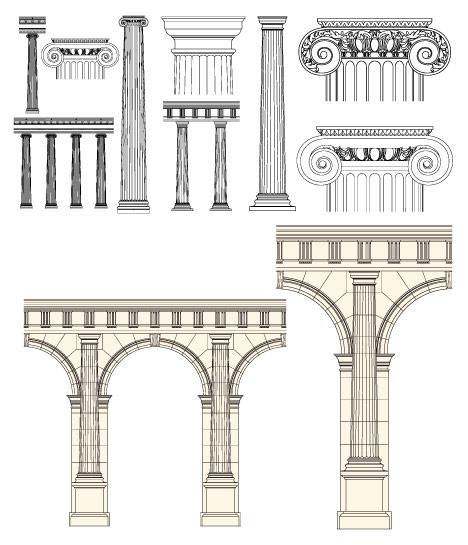 欧式柱子矢量