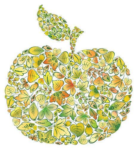 树叶组成的苹果图片