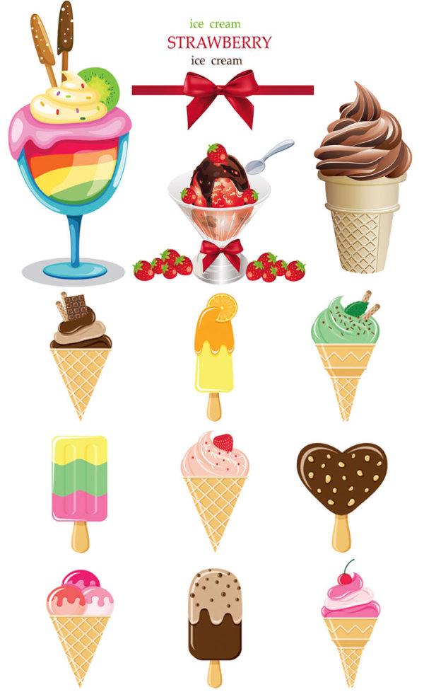 草莓冰淇淋简笔画-彩色雪糕矢量