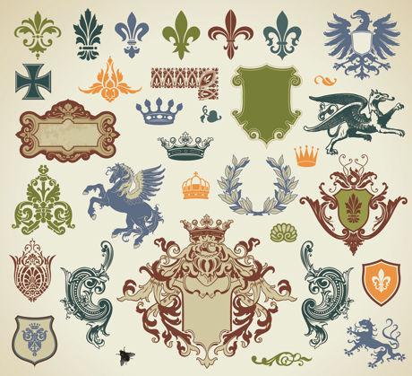 欧式花纹花边矢量素材,欧式花纹花边,欧式,花纹,花边,翅膀,边框,动物