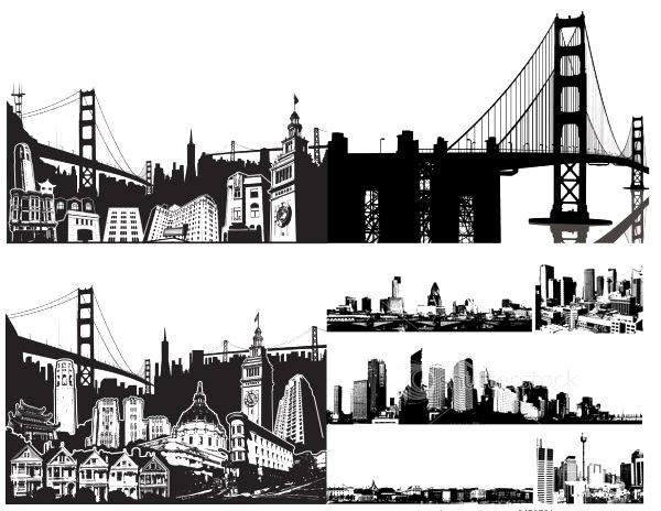 欧式建筑黑白插画