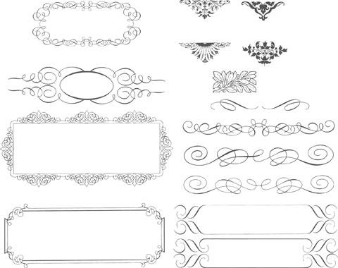 简介: 简洁花边装饰矢量素材,花边,边框,装饰,线条,图案,欧式,花纹