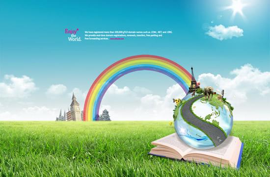 彩虹创想创意设计psd分层模板,彩虹桥草坪书本地球大象巴黎铁塔金字塔