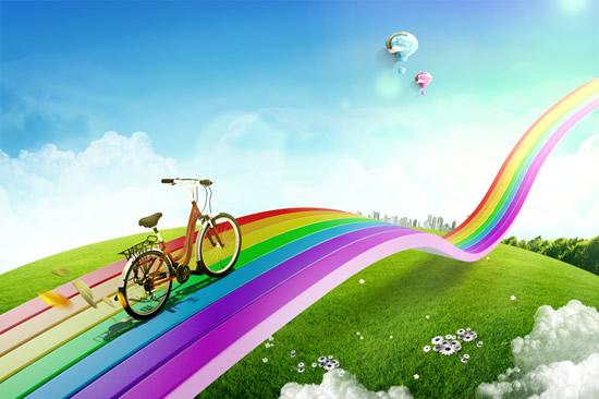 手绘彩虹热气球