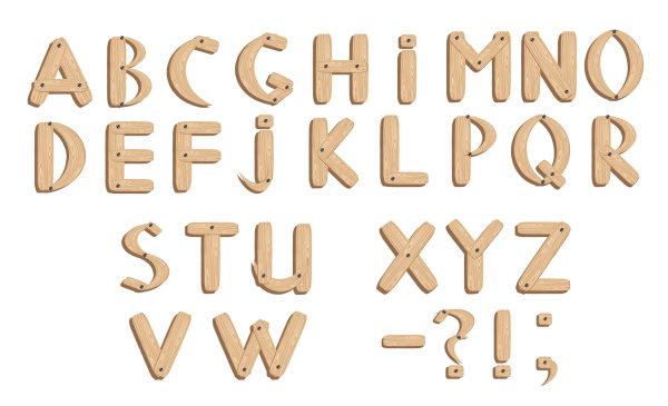 素材分类: 矢量艺术字所需点数: 0 点 关键词: 木板木纹英文字体矢量