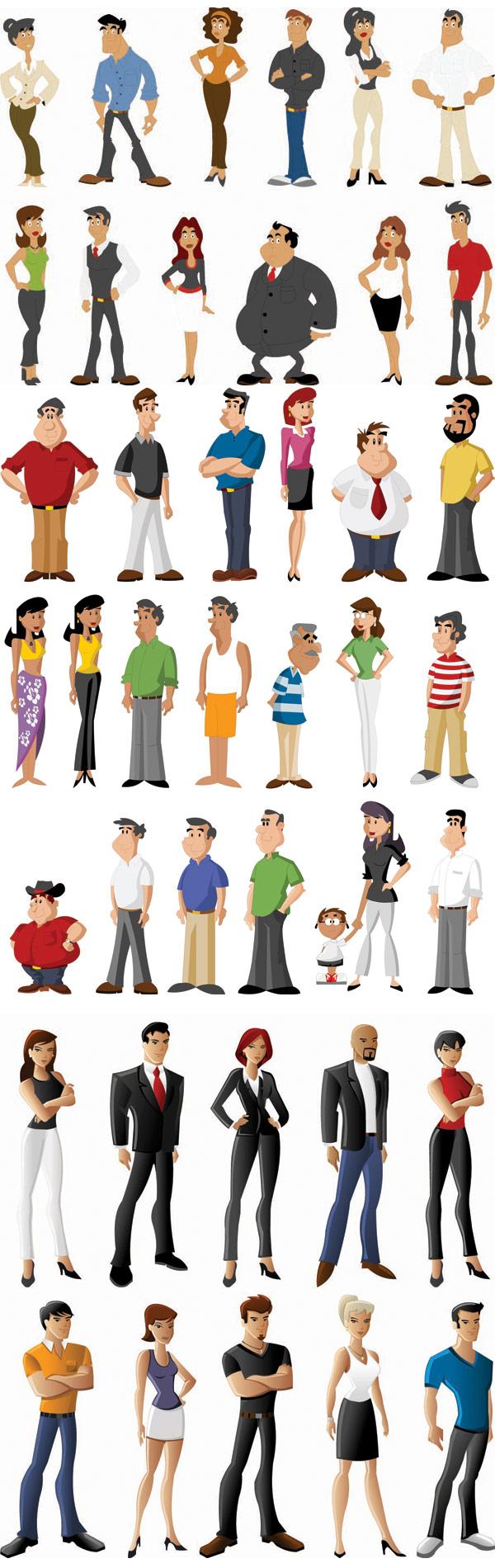 矢量生活人物 简介: 各式卡通人物矢量素材,卡通,漫画,人物,胖子