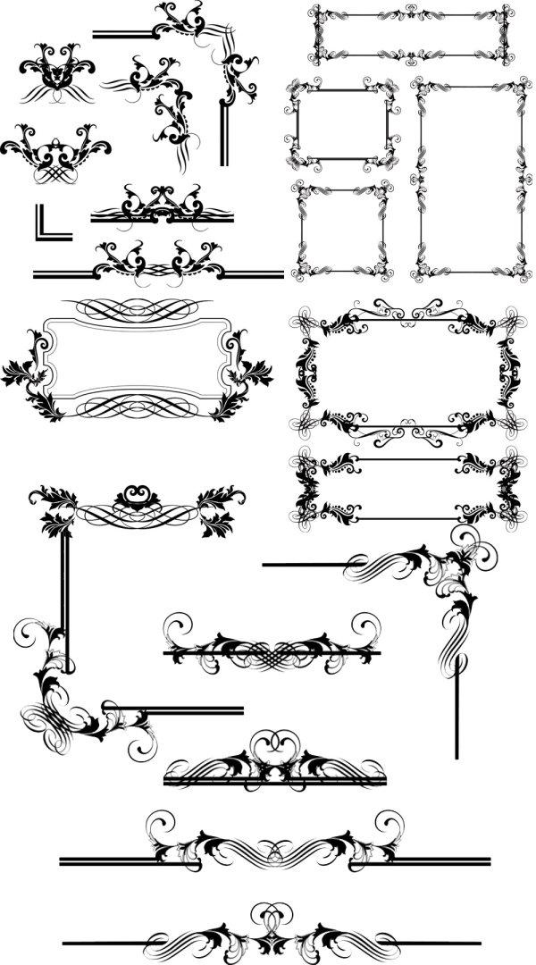 关键词: 欧式花纹边框矢量素材,欧式,花纹,花边,边框,线条,矢量素材