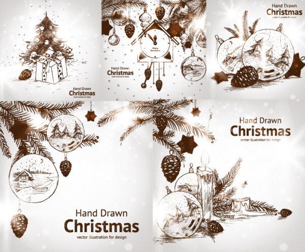 圣诞节,礼物,圣诞树,挂饰,挂球,吊球,松果,房子,雪景,松树枝,蜡烛