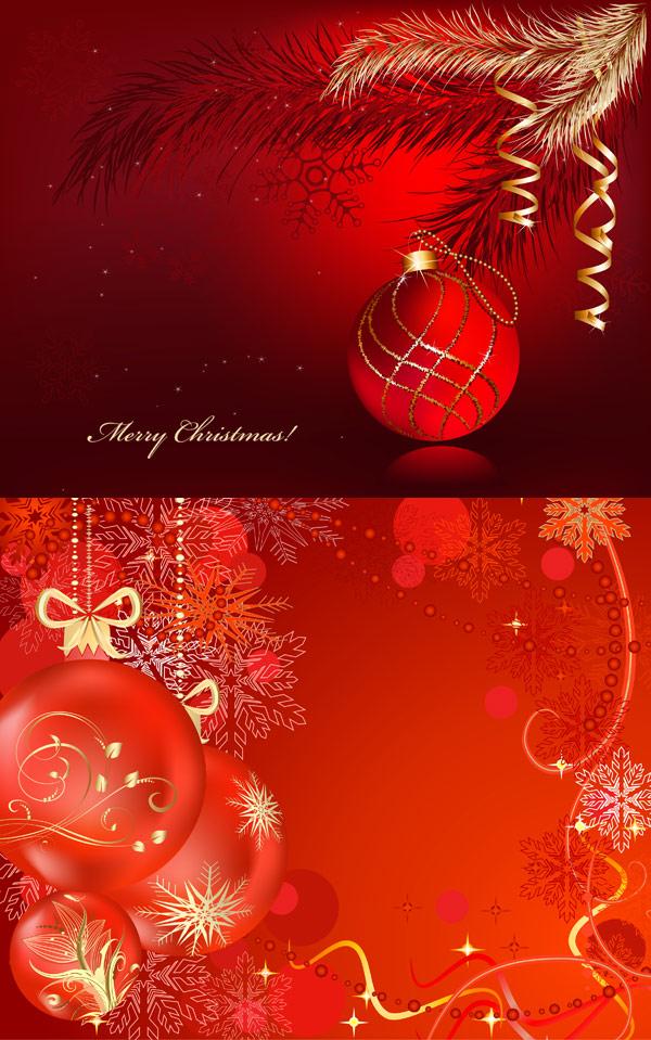 喜庆的圣诞彩球