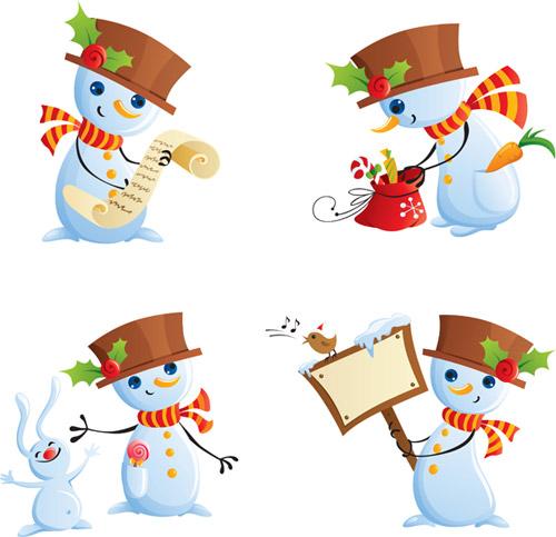 可爱的雪人矢量素材,圣诞节,雪人,举牌,小鸟,帽子,围巾,清单,兔子,兔