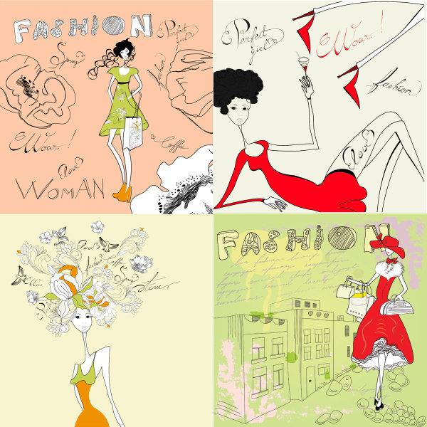 时尚女郎,简笔画,手提袋,高跟鞋,烫发,花纹,样式,花朵,高楼,线条,裙子图片