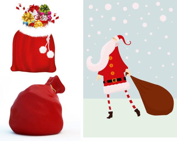 与礼物袋矢量素材,圣诞老人