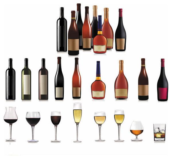 关键词: 酒瓶与高脚杯01矢量素材,酒瓶,葡萄酒瓶,红酒,高脚杯,瓶贴