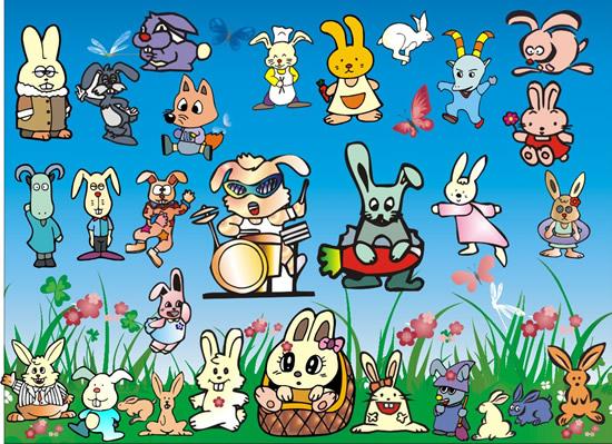 卡通小兔子矢_矢量卡通动物