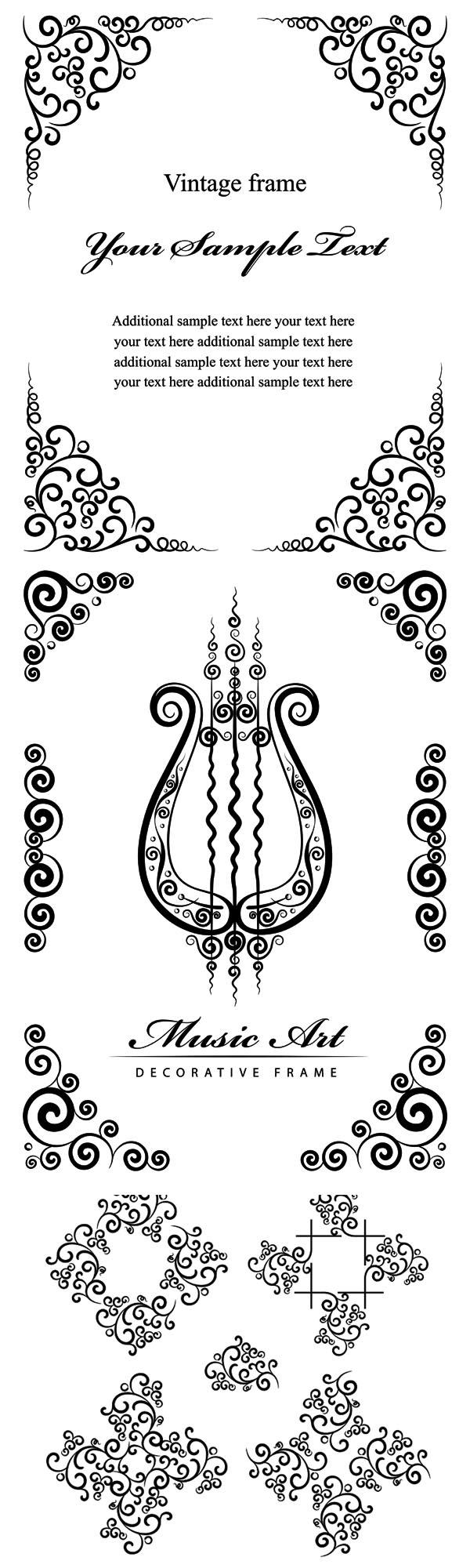 黑色花纹边框矢量素材,黑色,花纹,纹样,边框,花边,样式,底纹,琴,欧式