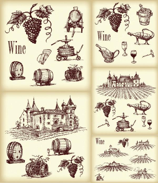 线描葡萄酒矢量
