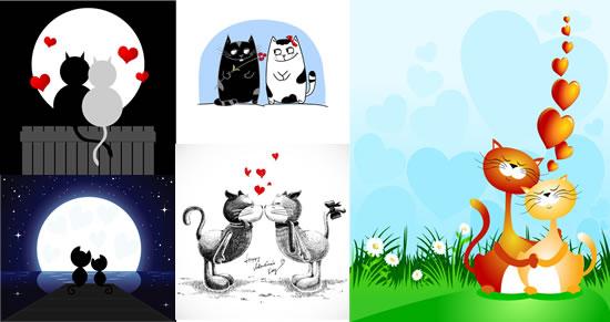 可爱小猫情人节寓意卡片矢量素材