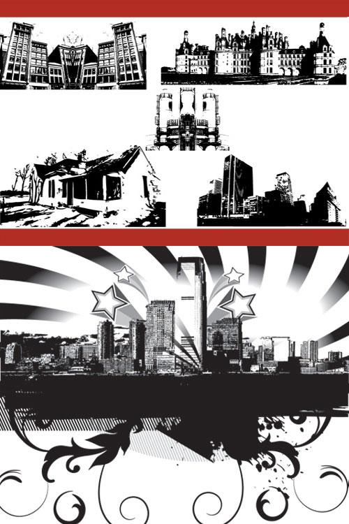城市建筑黑白剪影