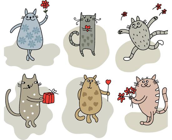 素材分类: 矢量卡通动物所需点数: 0 点 关键词: 卡通爱情小猫矢量图