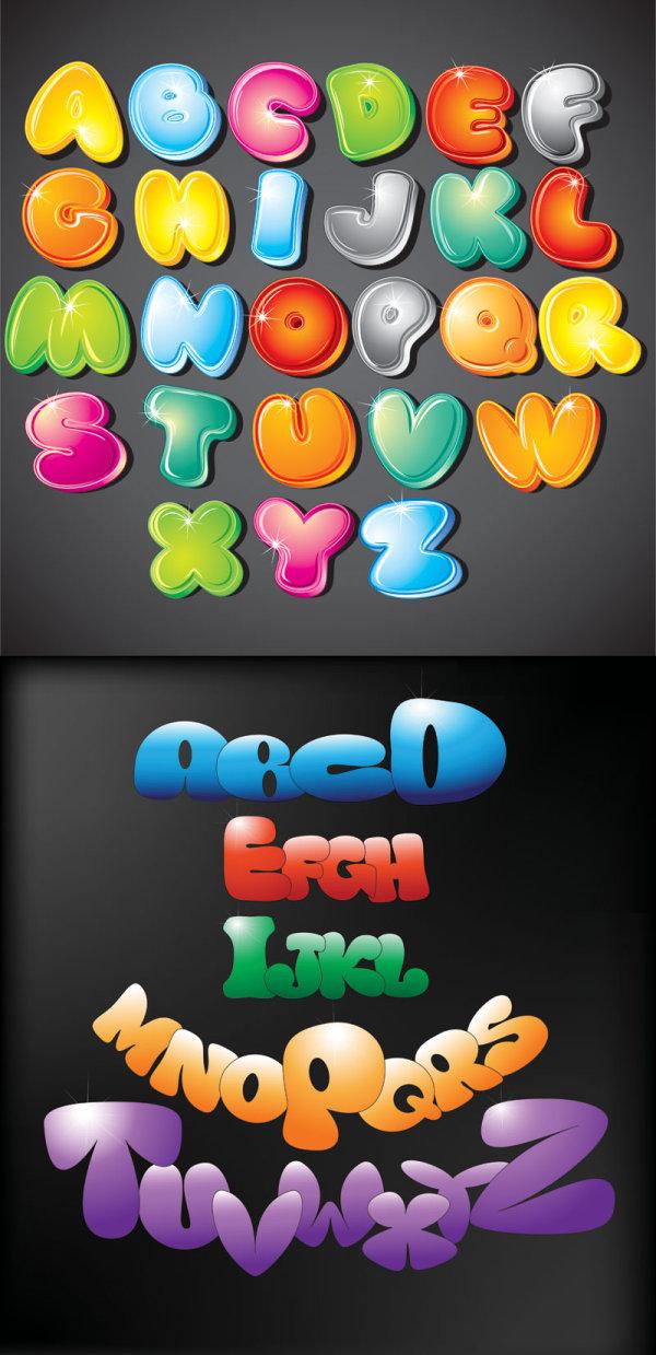 可爱卡通的26个英文字母矢量素材;
