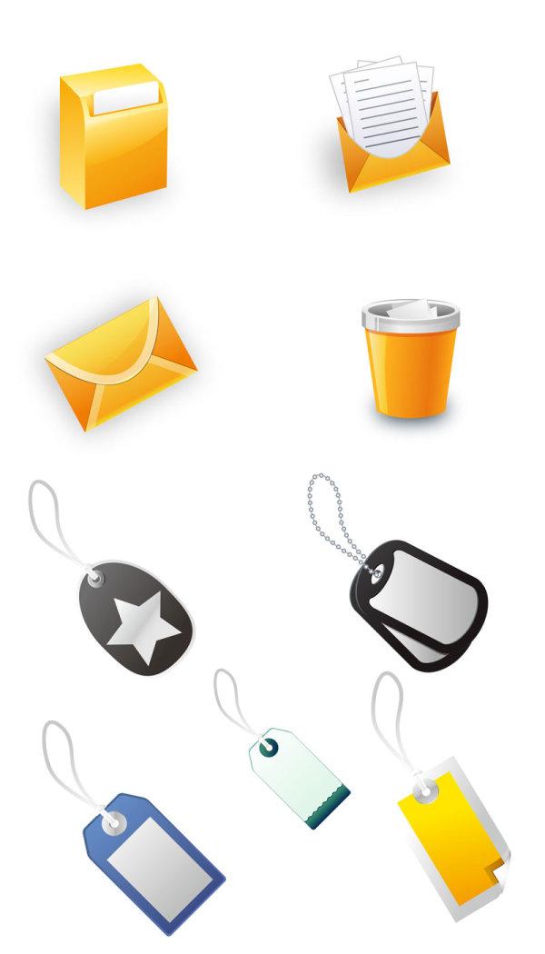办公图标,标签,回收站,收件箱,邮件,信件,信封,图标,垃圾桶,挂牌,折角