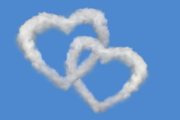 Romantic heart-shaped clouds 1