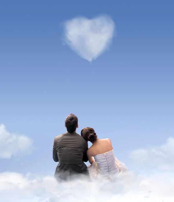 Romantic heart-shaped clouds 5