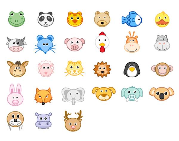 卡通,动物,青蛙,熊猫,老虎,大熊,鱼,鸭子,奶牛,老鼠,猪头,小鸡,长颈鹿图片