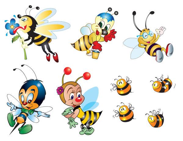 可爱,蜜蜂,卡通,形象,翅膀,触角,花朵,眼镜,蜂蜜,刺,迪士尼,动物,快乐