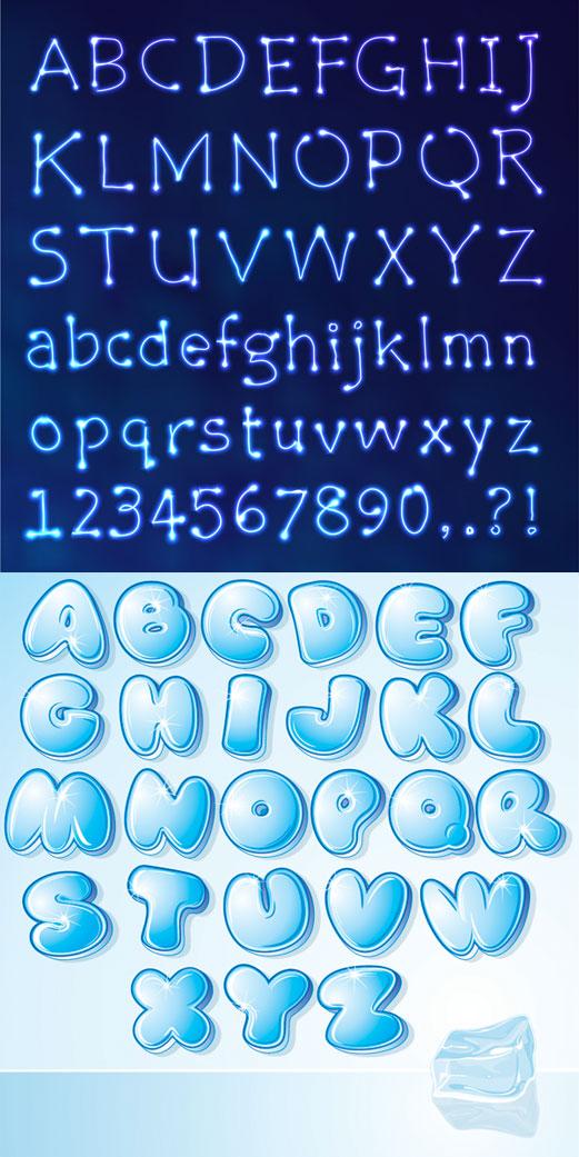 0 点 关键词: 2款艺术英文字矢量素材,26个英文字母,星座,数字,可爱