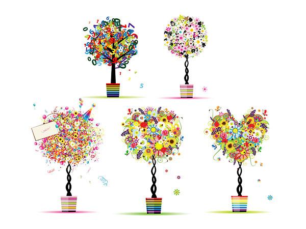 缤纷图案组成小树图片