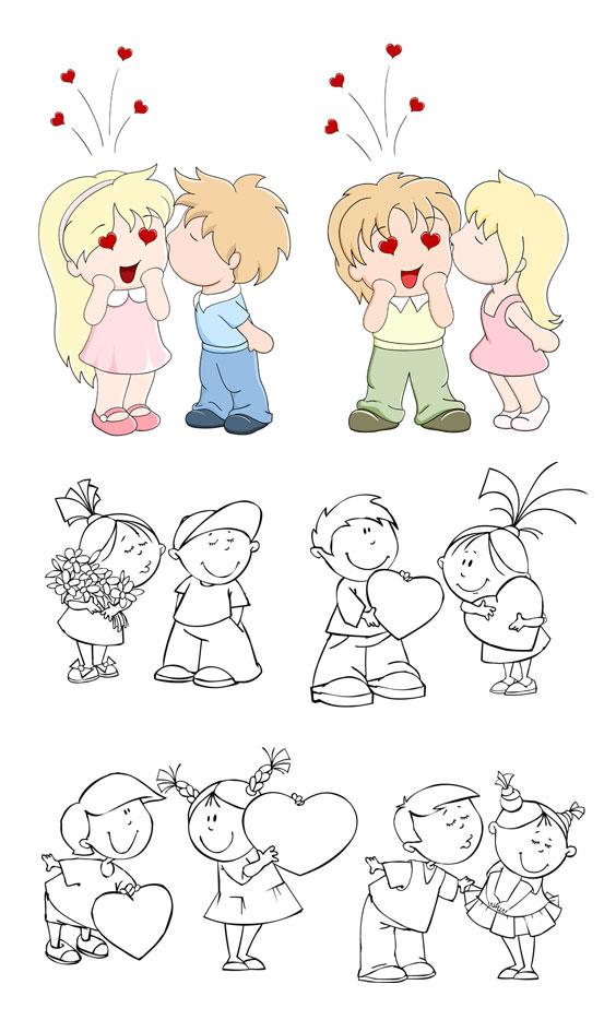 两小无猜小朋友_矢量卡通角色
