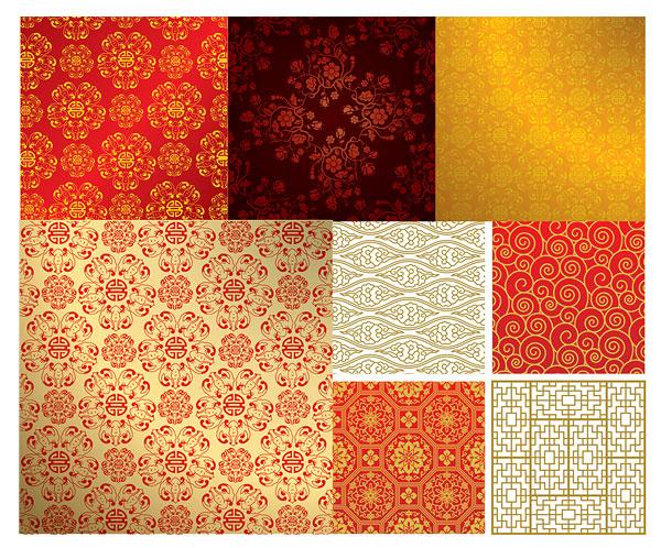 中国风背景矢量素材,中国风,古典,花纹,吉祥图案,背景,窗花,波浪纹