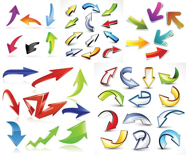 动感箭头,立体箭头,贴纸,水晶风格,卡通风格,方向,矢量素材,eps格式