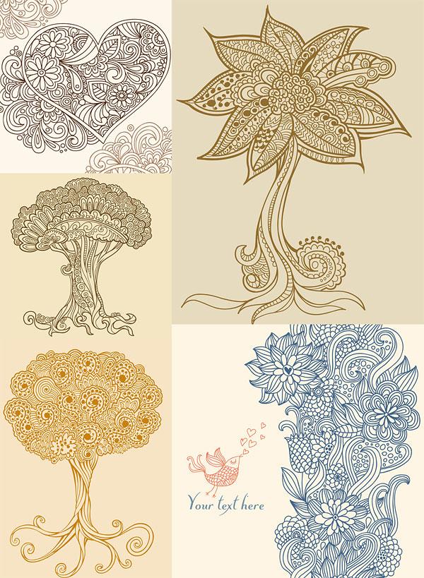 0 点 关键词: 潮流线条插画矢量素材,线条,心形,树木,花朵,小鸟,曲线