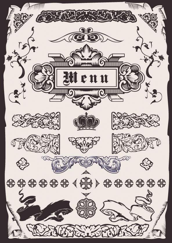 矢量传统所需点数: 0 点 关键词: 欧式菜单花纹矢量素材,花纹,花边