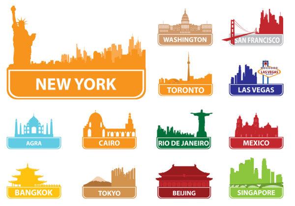0点 关键词: 世界著名城市建筑剪影02,城市建筑,剪影,地标物,建筑物