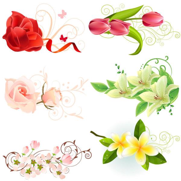 精美鲜花矢量素材,精美,鲜花,玫瑰,粉色,花,花束,花朵,花蕊,郁金香