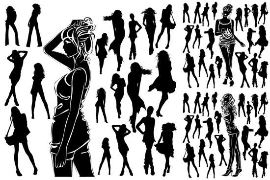 时尚女性人物剪影